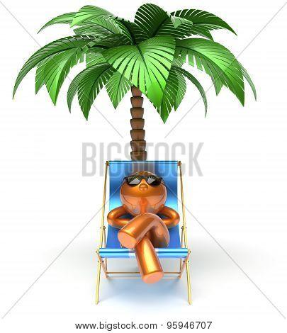 Chilling Beach Deck Chair Man Cartoon Character Relaxing
