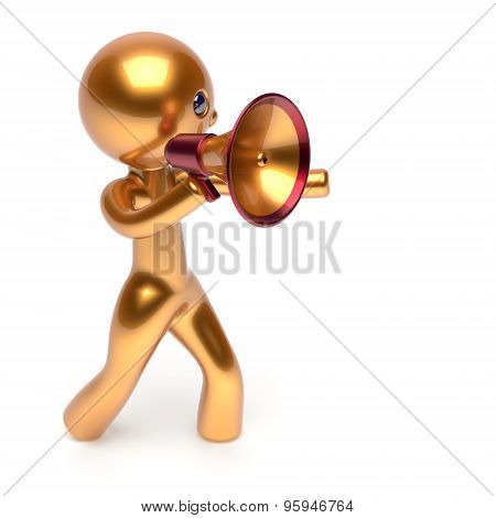 Man Speaking Megaphone Golden Character Making Sale News