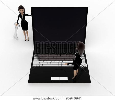 3D Woman With Wrench And Stading On Laptop Concept