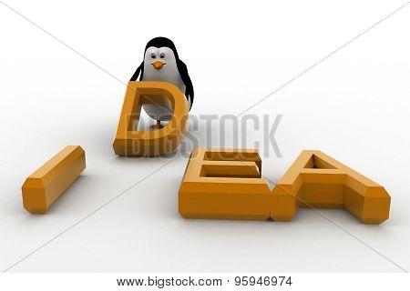 3D Penguin Placing Letter D Of Idea Concept