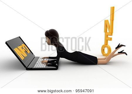 3D Woman Working On Latpoop And With Info Text Concept