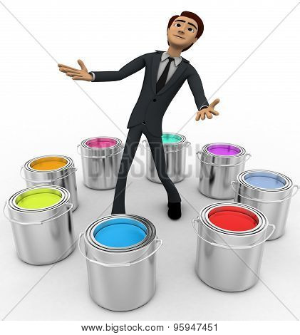 3D Man With Many Eight Colour Buckets Concept