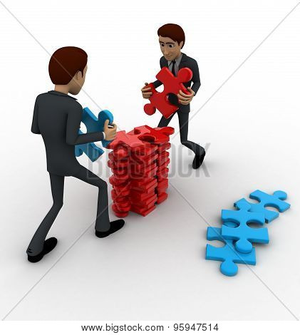 3D Man Arrange Puzzle Piece With Team Work Concept