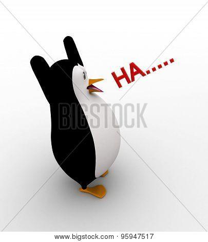 3D Penguin Speak Ha...... Loudly Concept