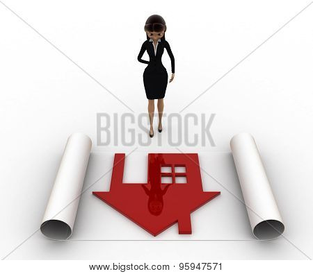 3D Woman With House Plan On Paper Scroll Concept