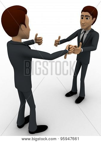 3D Man With Thumbs Up And Down Sign Concept