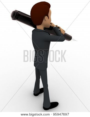 3D Man Holding Pen On Shoulder Concept