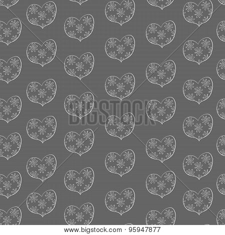 hand drawn hearts in a floret seamless pattern