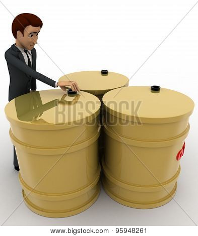 3D Man With Oil Three Barrels Concept