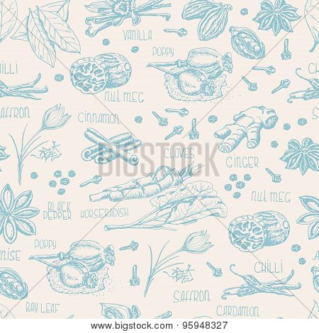 Seamless pattern with colorful spices on a beige background