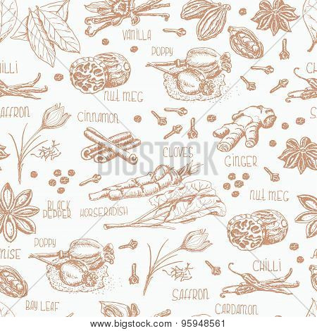 Seamless pattern with spices on a white background