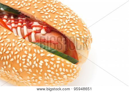 Hot Dog With Cucumber On A White Background Close Up