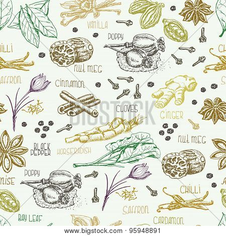 Seamless pattern with multi-colored spices