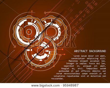 Abstract technology background with gear wheels pattern, vector illustration