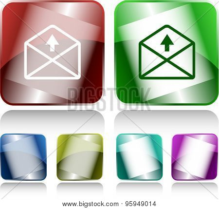 mail up arrow. Internet buttons. Vector illustration.
