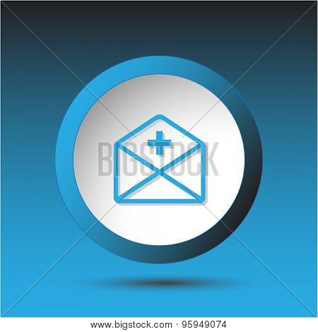 mail plus. Plastic button. Vector illustration.