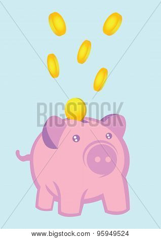 Money Falling Into Piggy Bank Vector Illustration