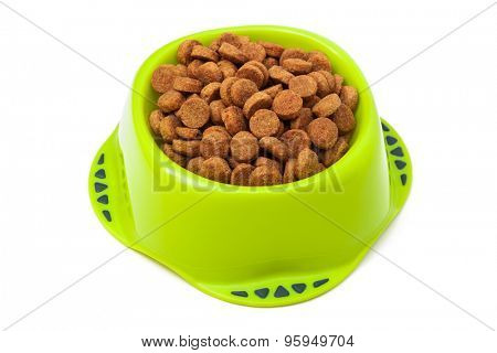dog food in a bowl on a white background