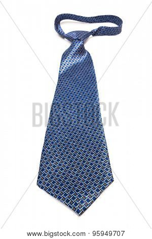 blue tie with knot on a white background
