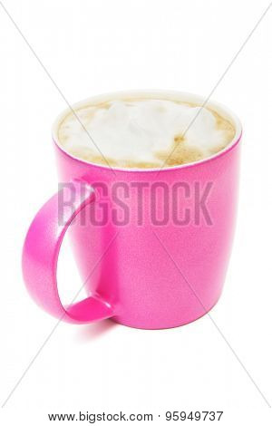 pink cup with a cappuccino on a white background