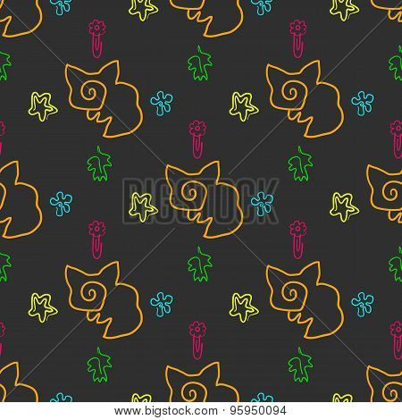 Doodle seamless pattern with foxes and stars
