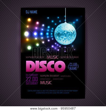 Disco Poster Neon Background