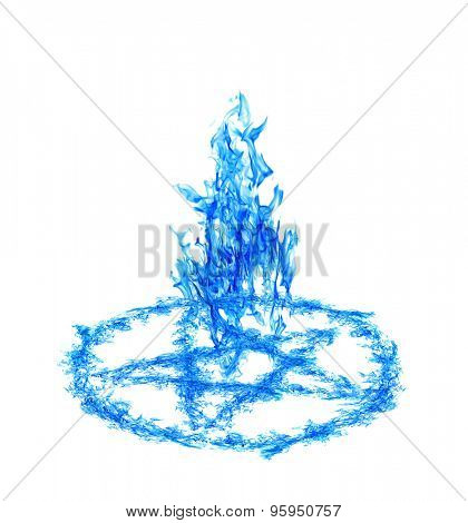 blue flame pentagram isolated on white background