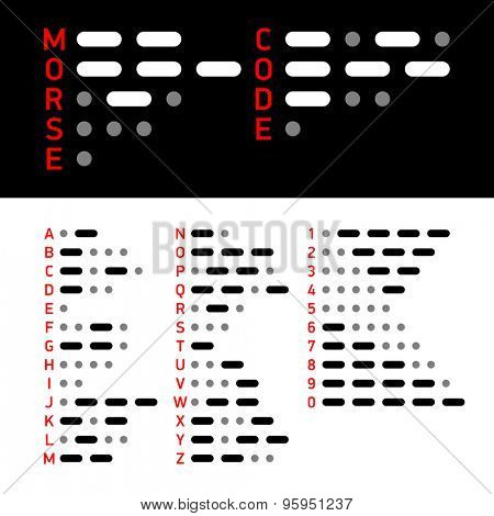 International Morse Code alphabet and numbers. Vector.
