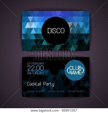 Disco Geometric Triangle Background.  Disco Card