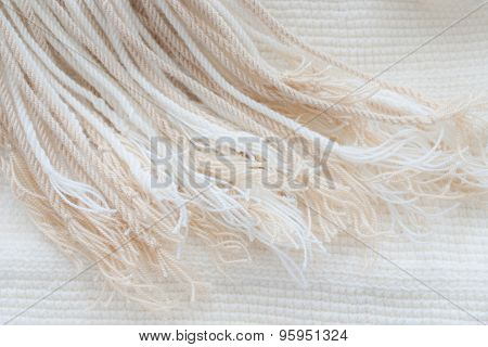White Cotton Tassels - Close Up Of Textured Background