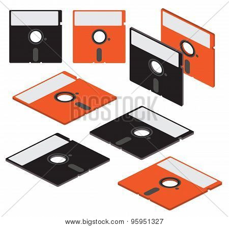 Set Of Flat Isometric Vector 5 Inch Floppy Disks
