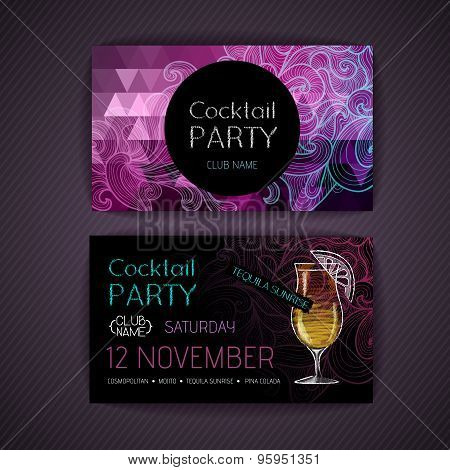 Disco Triangle Geometric Background. Cocktail Party Card