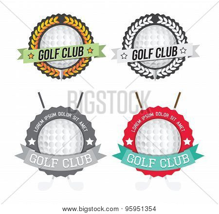 Set Of Colorful And Monochromatic Golf Club Lables