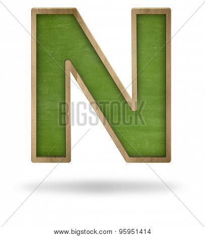 Green blank letter N shape blackboard