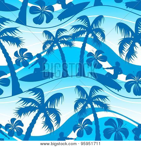 Surfer With Palm Tree Seamless Pattern