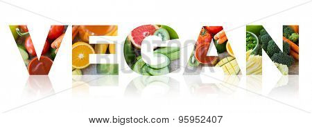 text, healthy eating, food, vegetarian and diet concept - vegan word of fruits and vegetables background