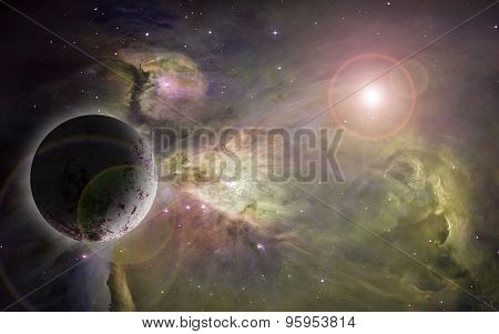 Outerspace Nebulae And Planet