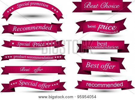 Set of magenta banners and ribbons. Vector illustration.