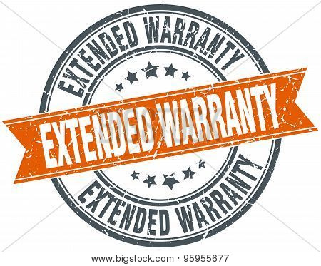 Extended Warranty Round Orange Grungy Vintage Isolated Stamp