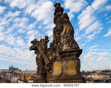 Statues at Carl's Bridge in Prague