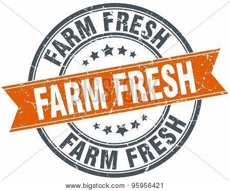 Farm Fresh Round Orange Grungy Vintage Isolated Stamp