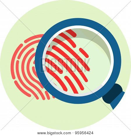 Magnifying Glass over Fingerprint