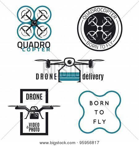 Vector set of drone emblems