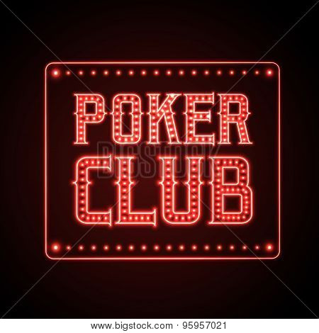 Neon Poker Club Sign