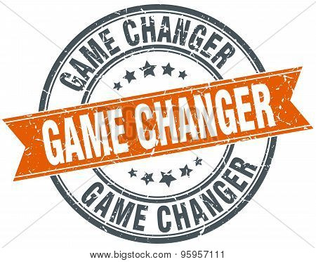 Game Changer Round Orange Grungy Vintage Isolated Stamp