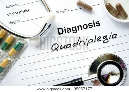 Diagnostic form with diagnosis Quadriplegia.