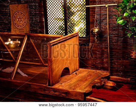 Interior of hindu ayurveda massage sauna with window .