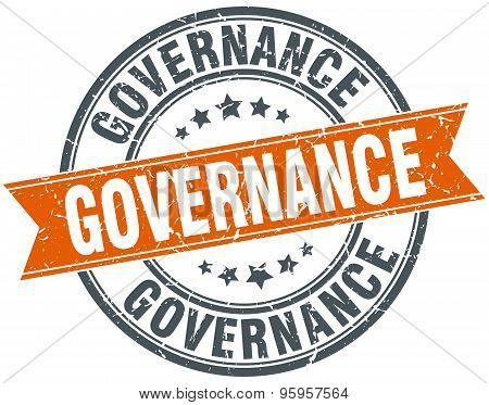Governance Round Orange Grungy Vintage Isolated Stamp
