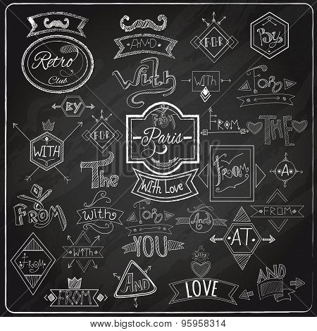 Catchwords blackboard chalk design