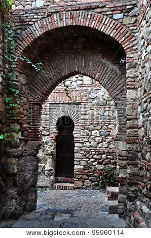 Inside Of Alcazaba In Malaga, Spain